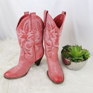 Sbicca Pink Faux Leather Heeled Cowboy Boots 10